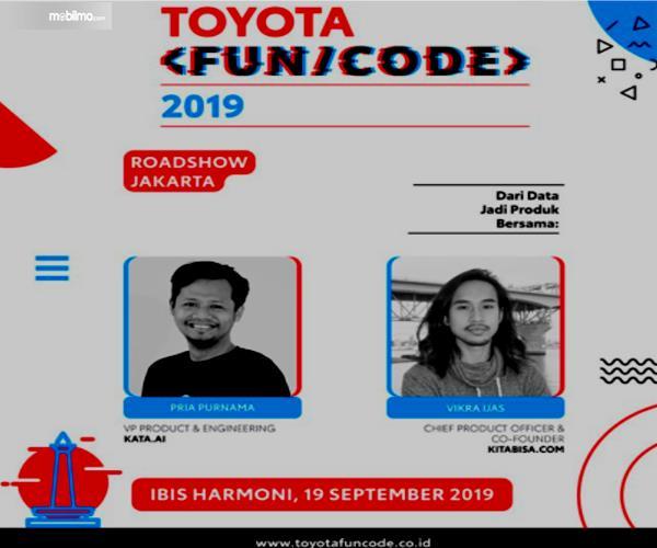 Gambar ini menunjukkan brosur Toyota Fun/Code di Jakarta dan terdapat 2 foto pengisi acara