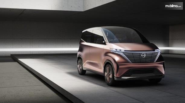 Eksterior Depan Nissan IMk Concept 2019 hadir dengan V-Motion Grille berukuran besar dan lampu minimalis