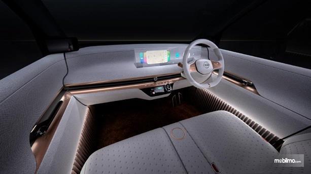 Interior Nissan IMk Concept 2019 dikemas dengan gaya futuristik serta punya fitur lampu pijar yang mampu menerangi seluruh isi kabin