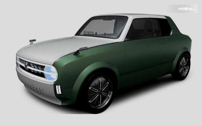 Gambar ini menunjukkan ilustrasi mobil konsep milik Suzuki tampak bagian depan dan samping kiri