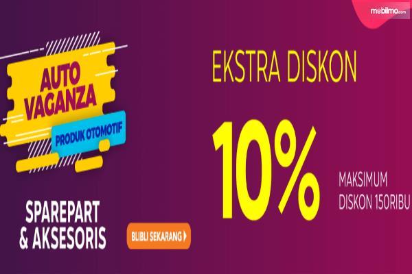 Gambar ini menunjukkan adanya diskon 10% untuk pembelian sparepart dan aksesoris kendaraan