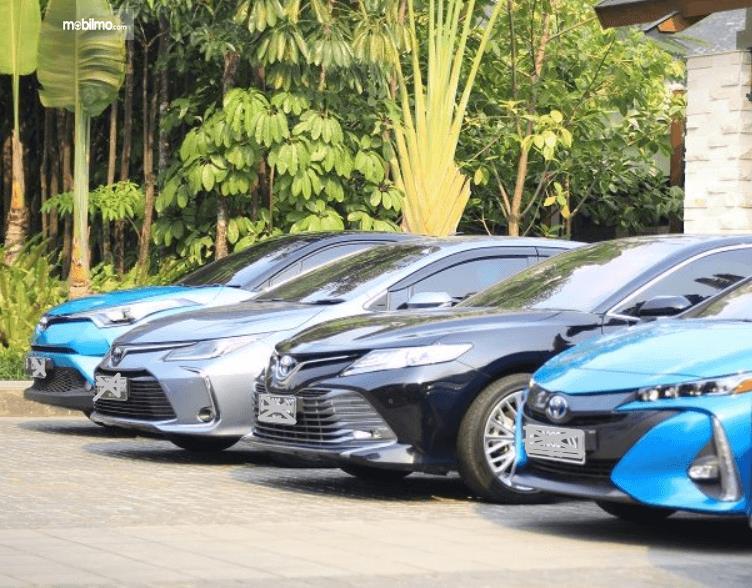 Gambar ini menunjukkan Mobil Toyota Hybrid yang diparkirkan berjejer