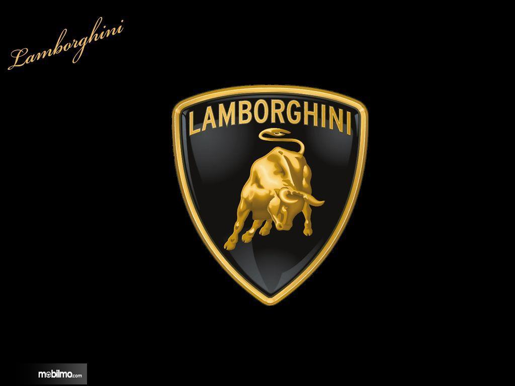 Foto menunjukkan logo Lamborghini