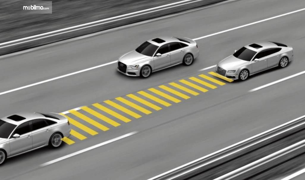 Gambar ini menunjukkan 3 buah mobil sedang melaju dengan jarak berbeda