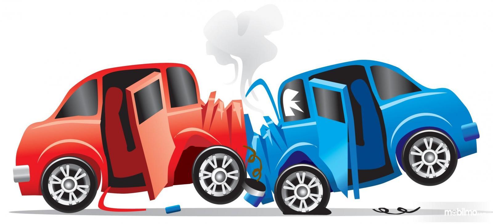 Gambar Ilustrasi mobil tabrakan