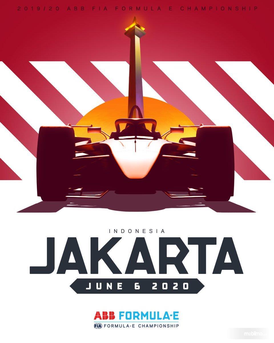 Banner balap Formula E di Jakarta tahun 2020 mendatang