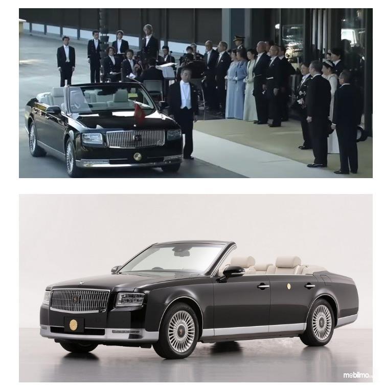 Gambar ini menunjukkan mobil Toyota Century Convertible dan kaisar baru Jepang serta pengikutnya akan masuk mobil