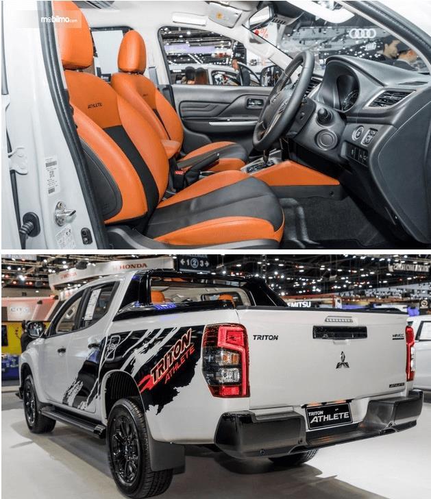 Gambar ini menunjukkan mobil Mitsubishi Triton Athlete Terbaru tampak luar dan interior