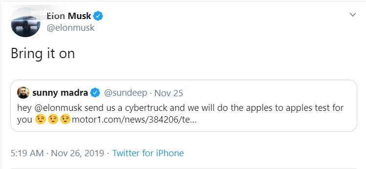 Gambar Tweet Elon Musk menanggapi tantangan Ford