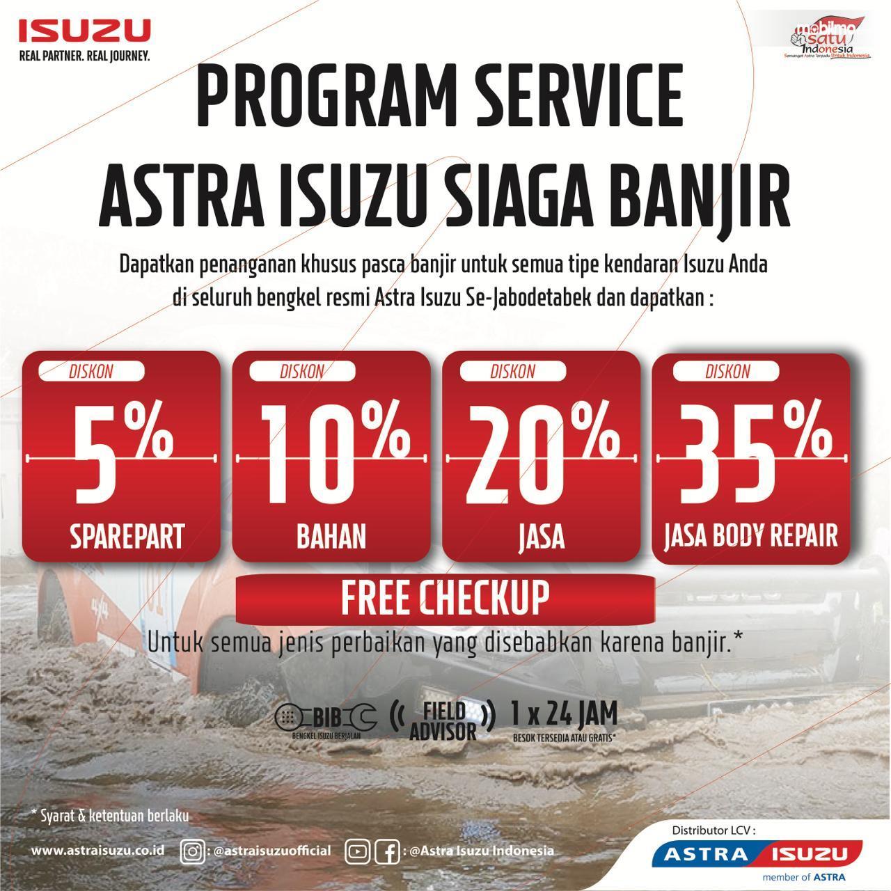 Banner Program servis Astra Isuzu Peduli Banjir