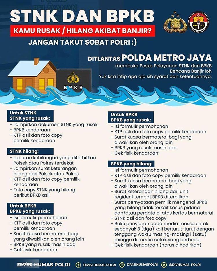 Grafis Cara mengurus STNK dan BPKB rusak / hilang akibat banjir
