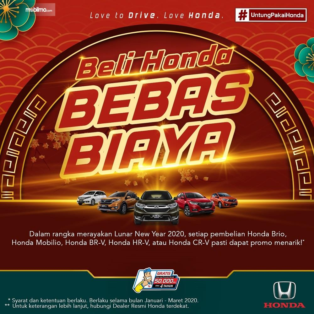 Banner promo Honda Bebas Biaya 2020