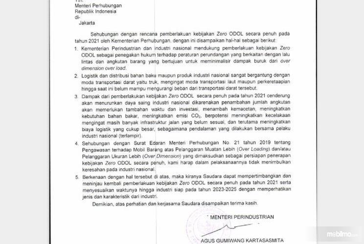 Foto surat permintaan penundaan kebijakan Zero ODOL