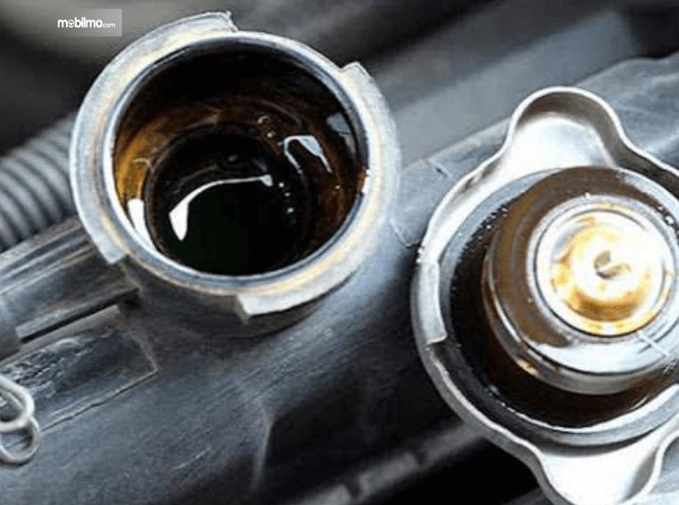 Gambar ini menunjukkan tutup radiator yang dibuka