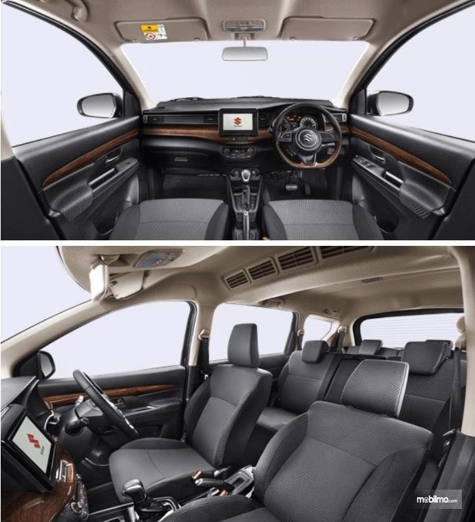 Gambar ini menunjukkan dashboard mobil dan jok pada All New Ertiga