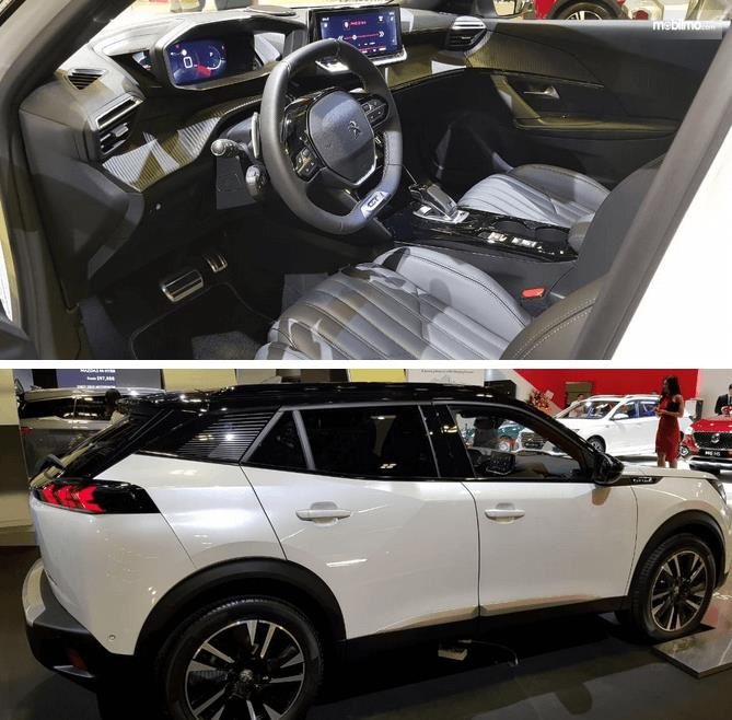 Gambar ini menunjukikan bagian samping dan interior Model Compact SUV Peugeot 2008