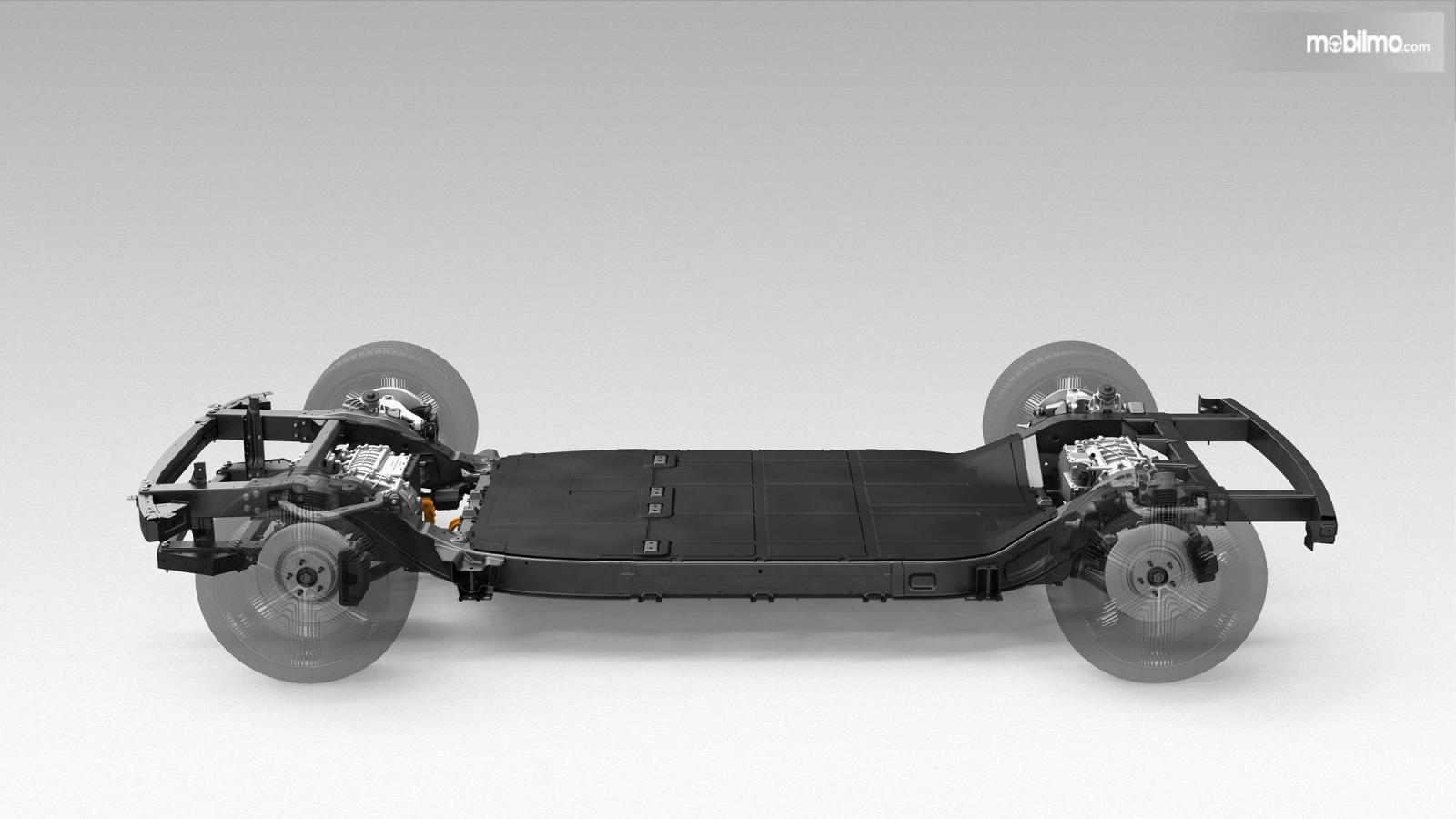 Foto menunjukkan aritektur skateboard Canoo