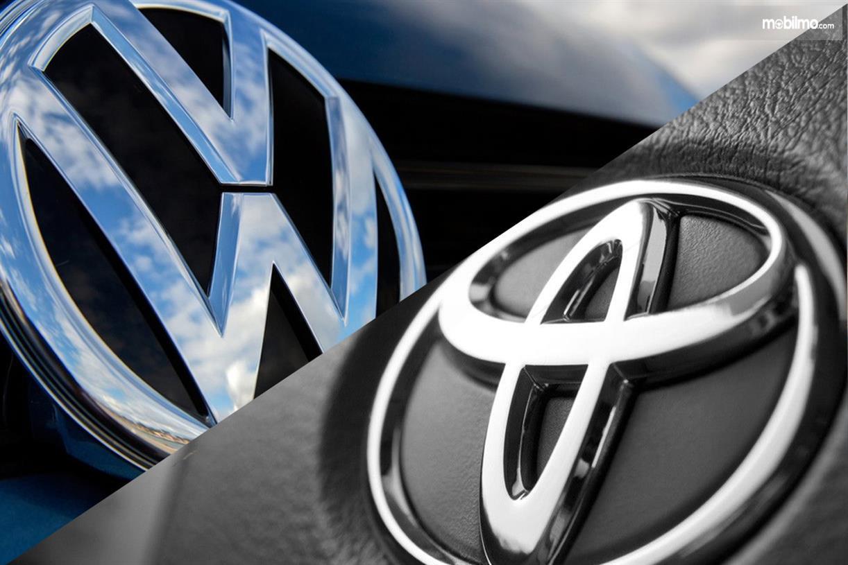 Gambar menunjukkan logo Toyota dan Volkswagen