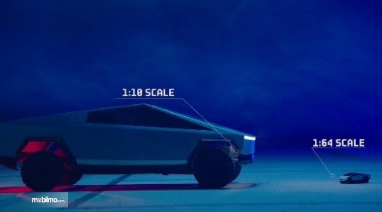 Gambar ini menunjukkan skala berbeda pada Tesla Cybertruck