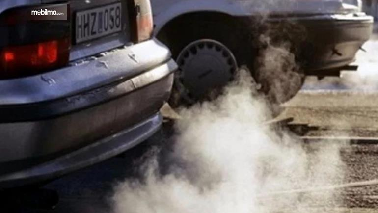 Gambar ini menunjukkan asap yang dikeluarkan dari knalpot mobil