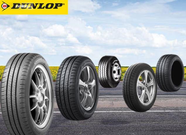 Gambar ini menunjukkan beberapa ban mobil merek Dunlop