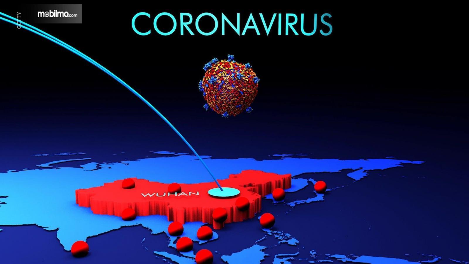 Gambar ilustrasi penyebaran Virus Corona
