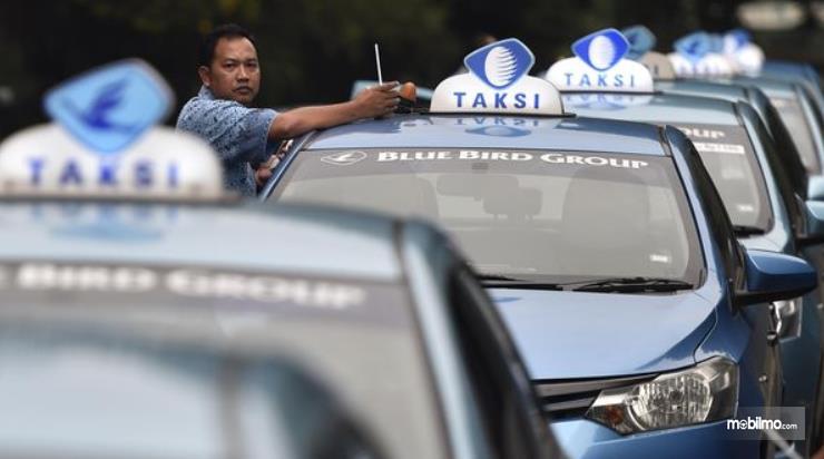 Gambar ini menunjukkan beberapa mobil taksi dan 1 sopir