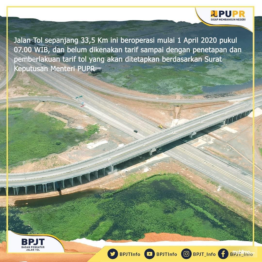 Foto menunjukkan salah satu simpang susun Tol Kayu Agung-Palembang