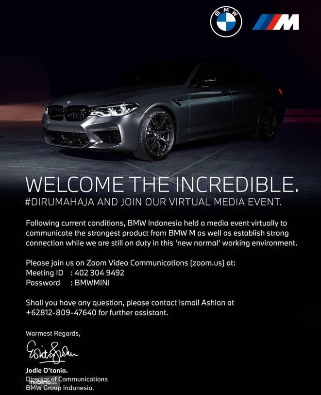 Gambar ini menunjukkan brosur untuk peluncuran BMW seri M
