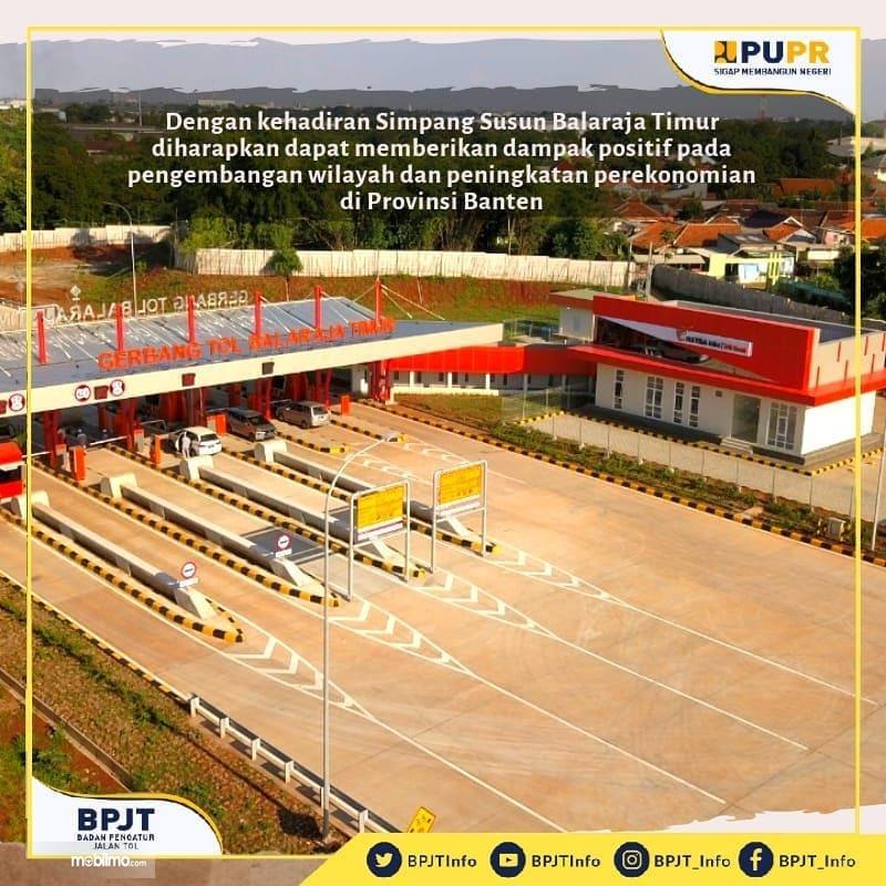 Foto menunjukkan gardu Gerbang Tol Balaraja Timur Tol Tangerang-Merak