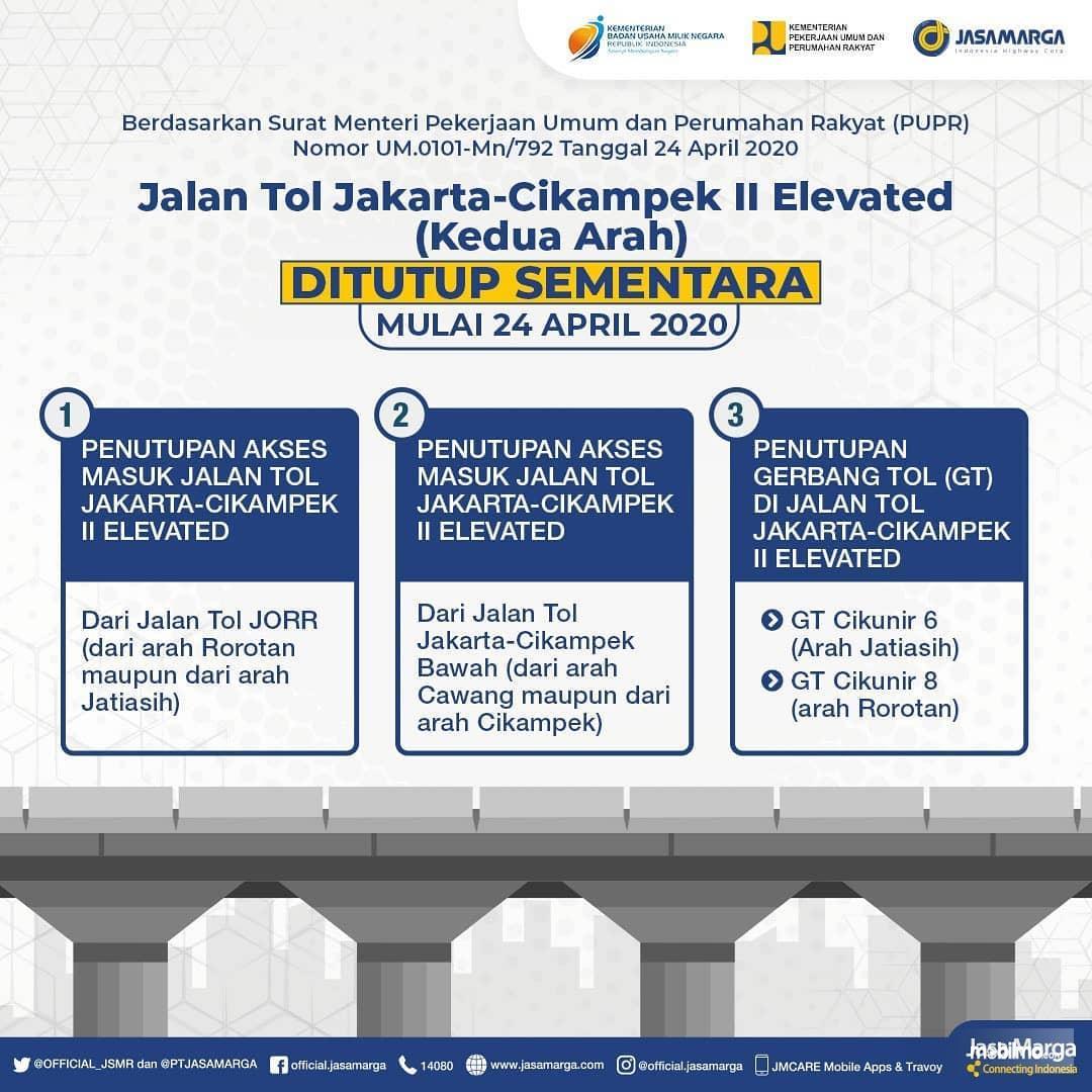 Foto menunjukkan Penutupan Jalan Tol Jakarta-Cikampek II Elevated