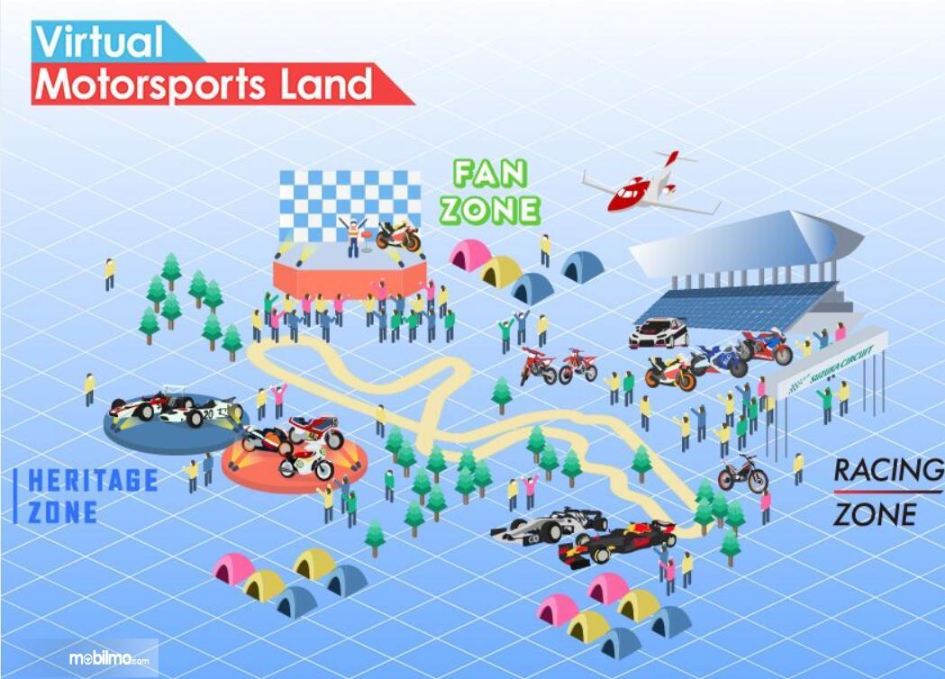 Gambar ini menunjukkan Virtual Motor Sports Land