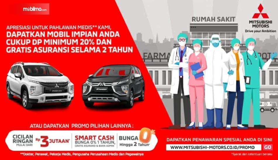Gambar ini menunjukkan program Mitsubishi yang ditujukan kepada pahlawan medis di Indonesia