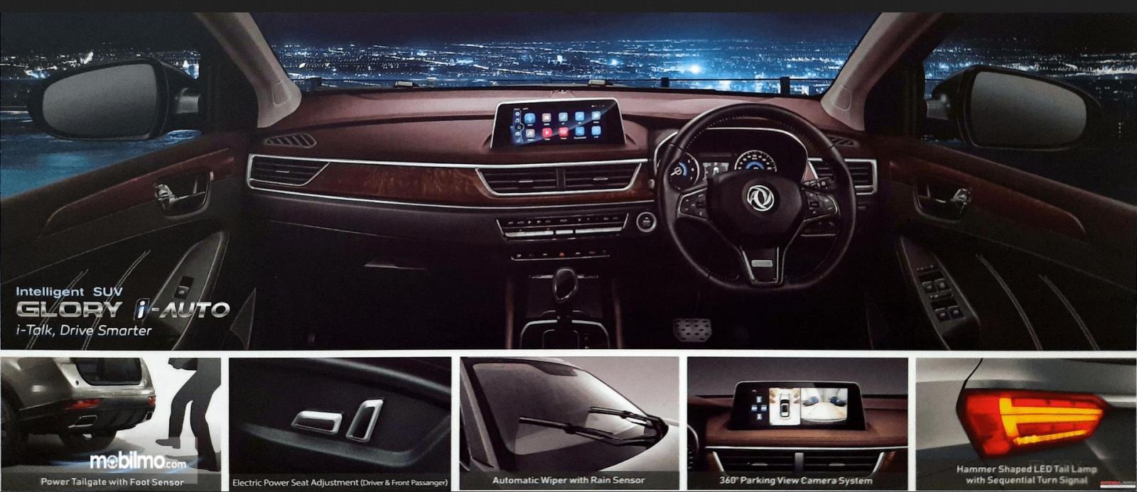 Gambar ini menunjukkan interior dan fitur yang dimiliki DFSK Glory i-Auto