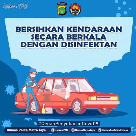 Gambar ini menunjukkan brosur membersihkan mobil dengan desinfektan