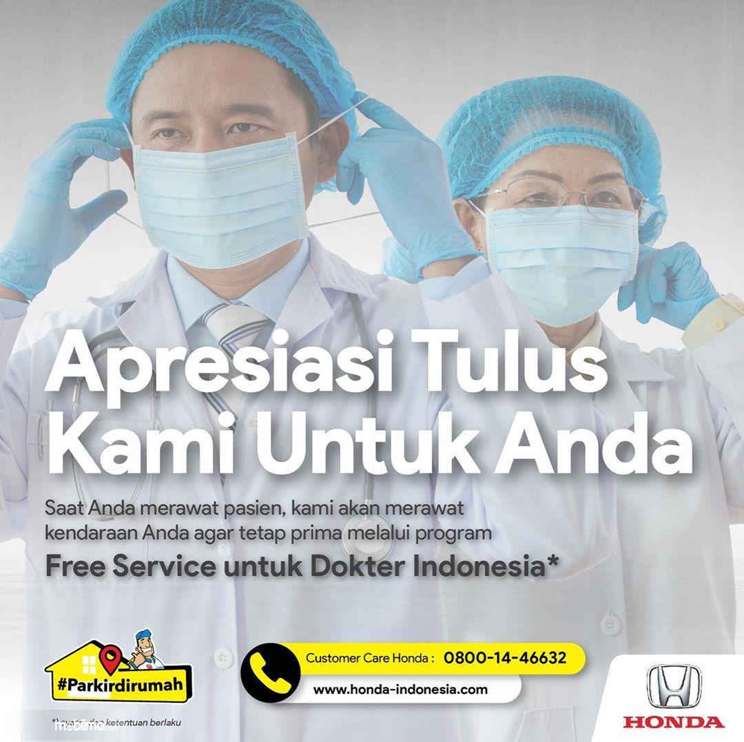 Foto menunjukkan Servis gratis dari Honda untuk para dokter