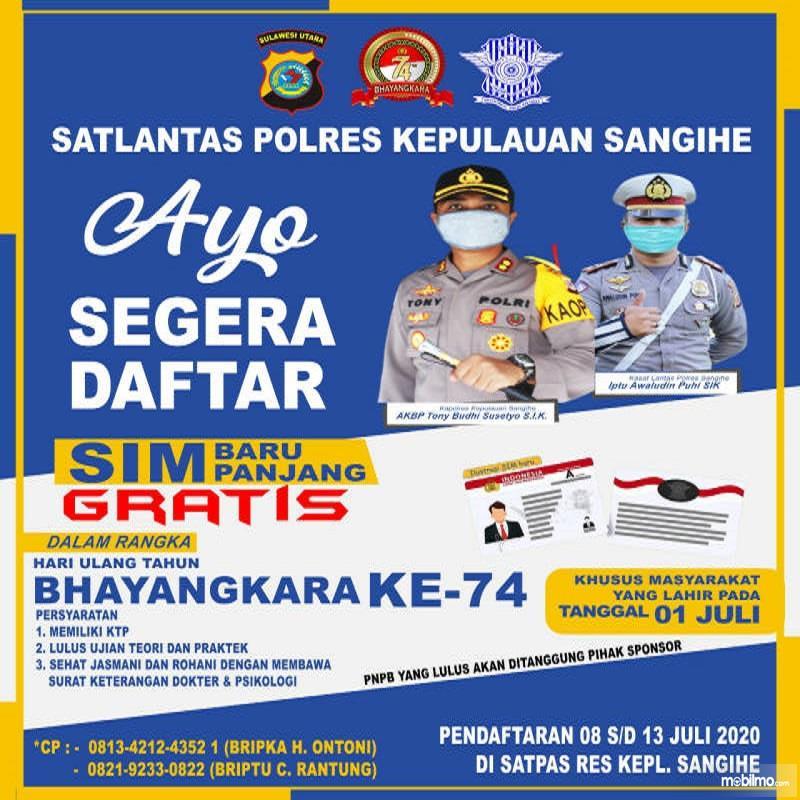Banner Promo SIM Gratis di HUT Bhayangkara ke 74