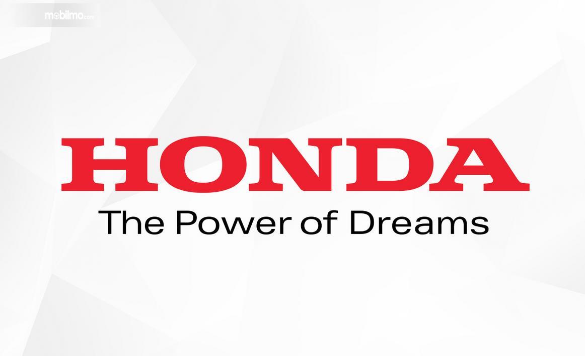 Gambar ini menunjukkan tulisan Honda warna merah