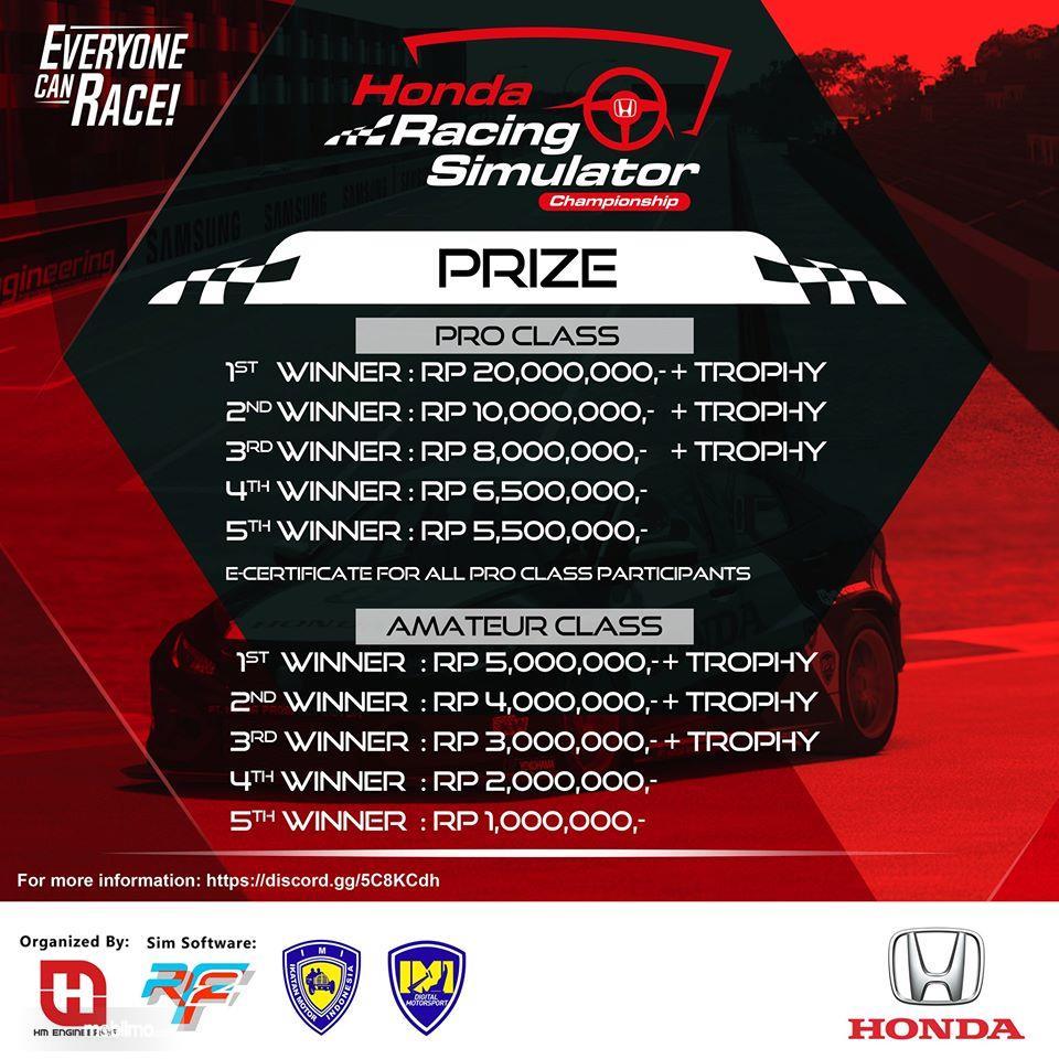 Banner menunjukkan Hadiah lomba balapan simulator Honda