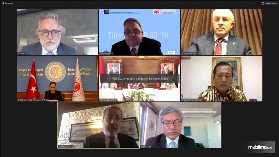 Foto menunjukkan suasana Pertemua virtual KemenPUPR dengan Pemerintah Turki