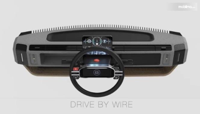 Gambar ini menunjukkan kemudi dan dashboard mobil kendaraan listrik eBussy