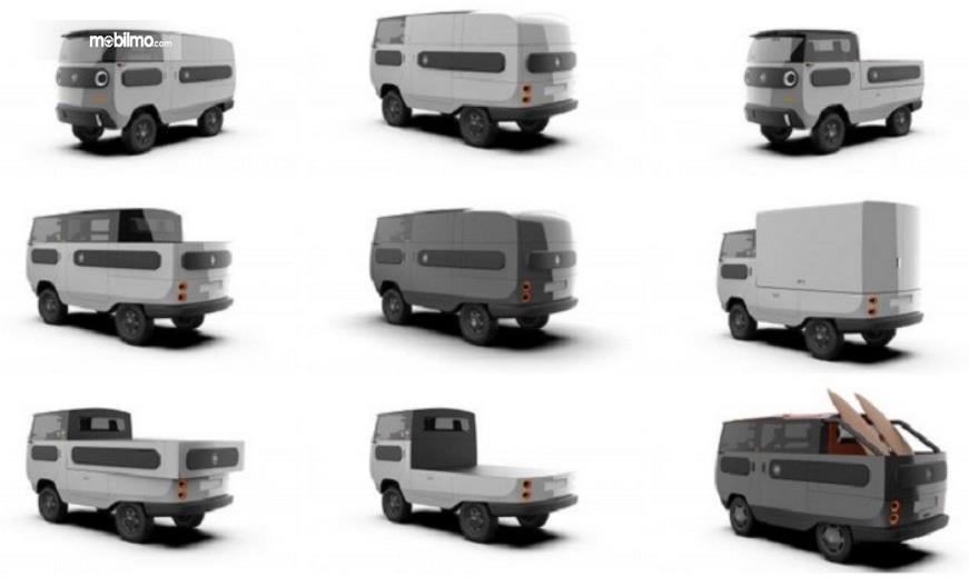 Gambar ini menunjukkan beragam model eBussy saat mengalami perubahan