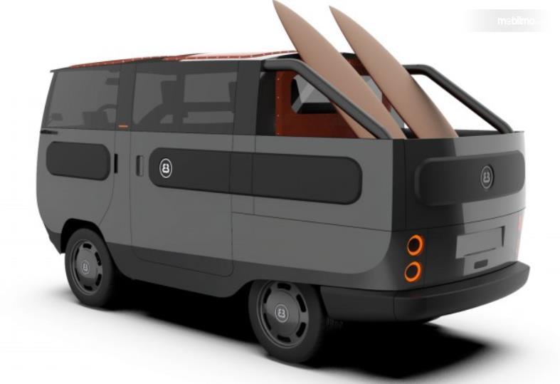 Gambar ini menunjukkan mobil listrik eBussy berubah  jadi salah satu model