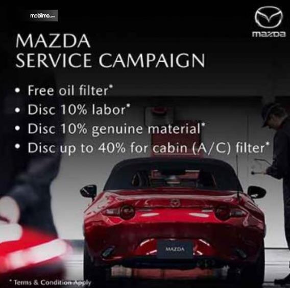 Gambar ini menunjukkan brosur  program Mazda Service Campaign 2020