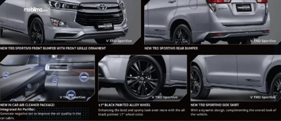 Gambar ini  menunjukkan beberapa yang baru pada Toyota Kijang Innova TRD Sportivo Limited