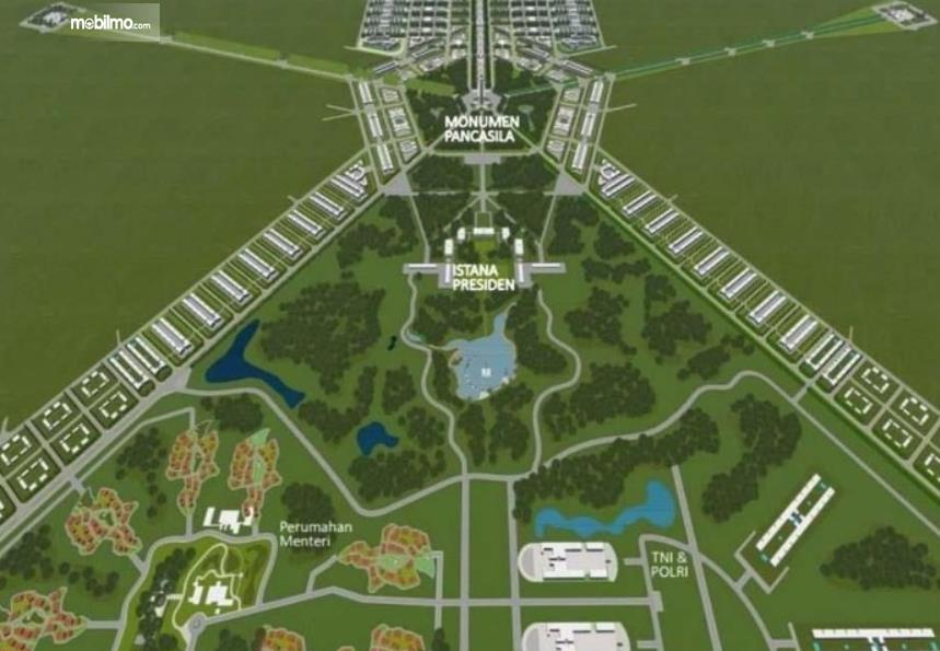Gambar ini menunjukkan desain Ibu Kota Baru Di Kalimantan