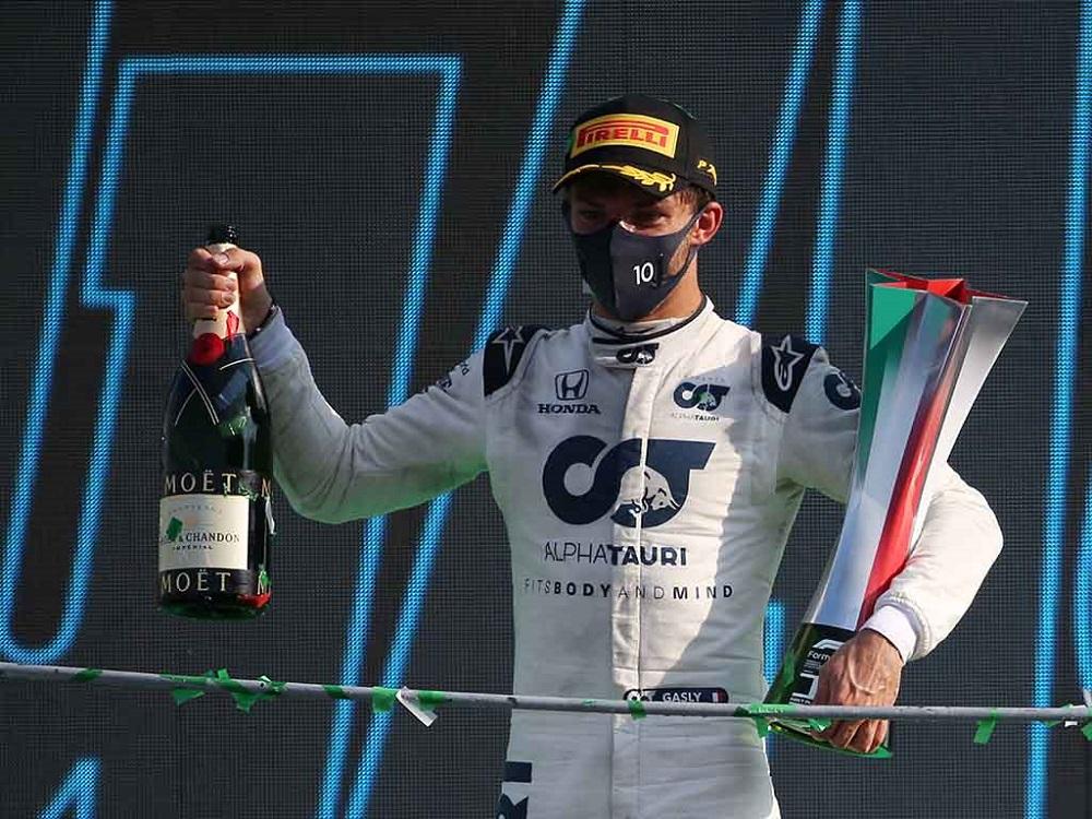 Foto Pierre Gasly podium 1 F1 2020 GP Italy