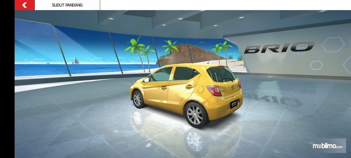 Gambar ini menunjukkan pemilihan mobil Honda Brio dalam Brio Virtual Drift Challenge