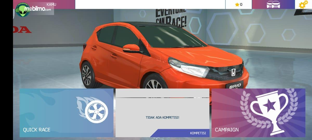 Gambar ini menunjukkan pemilihan mode pada Brio Virtual Drift Challenge