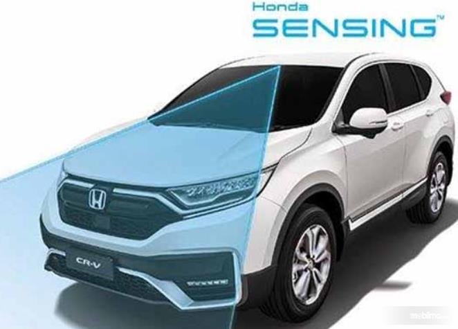 Gambar ini menunjukkan ilustrasi teknologi Honda Sensing pada CR-V